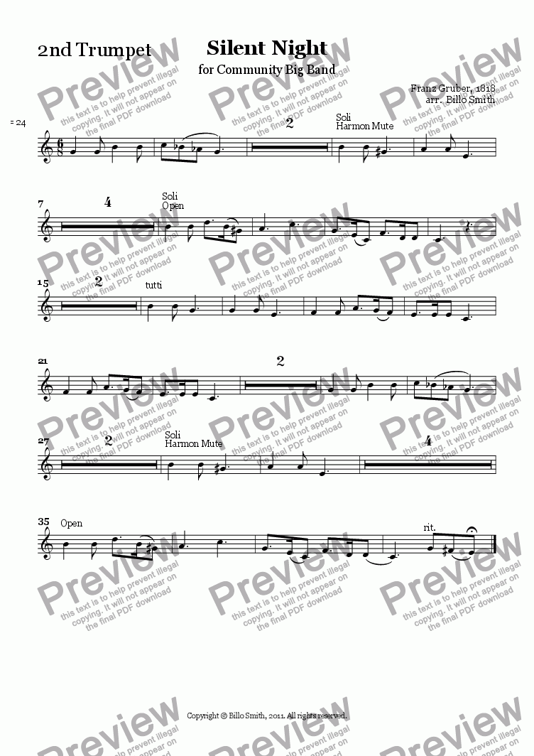 page one of the 2nd Trumpet part from Silent Night