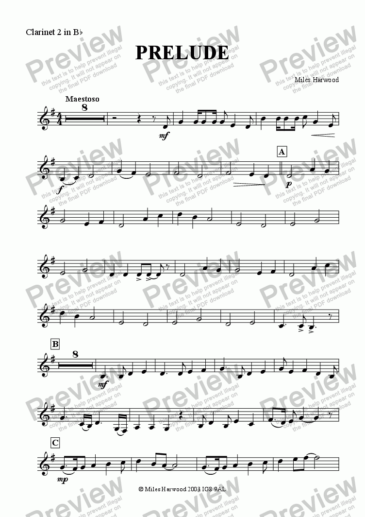 page one of the Clarinet 2 part from Prelude