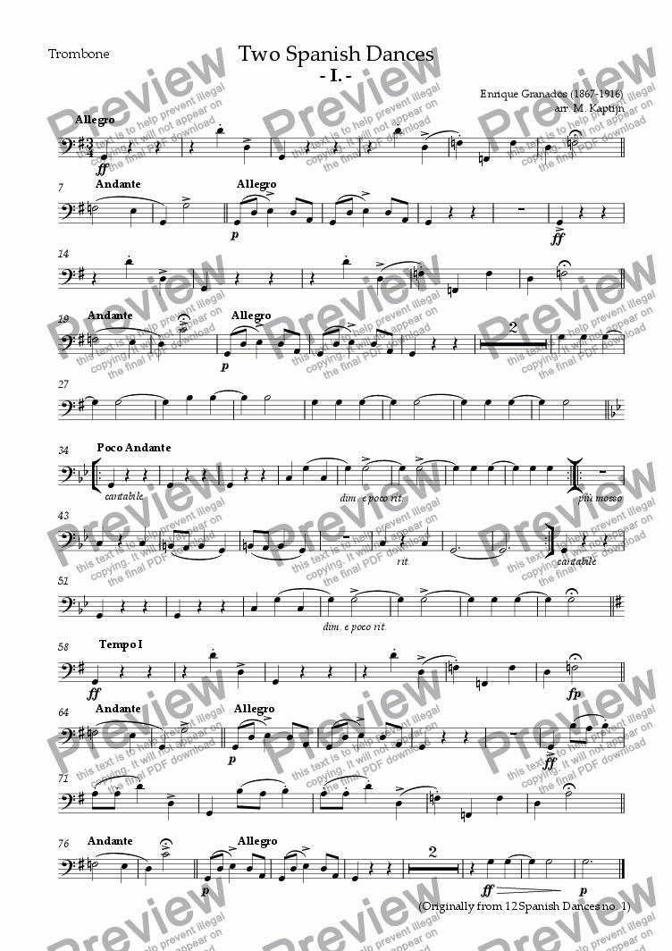 page one of the Trombone part from Two Spanish Dances