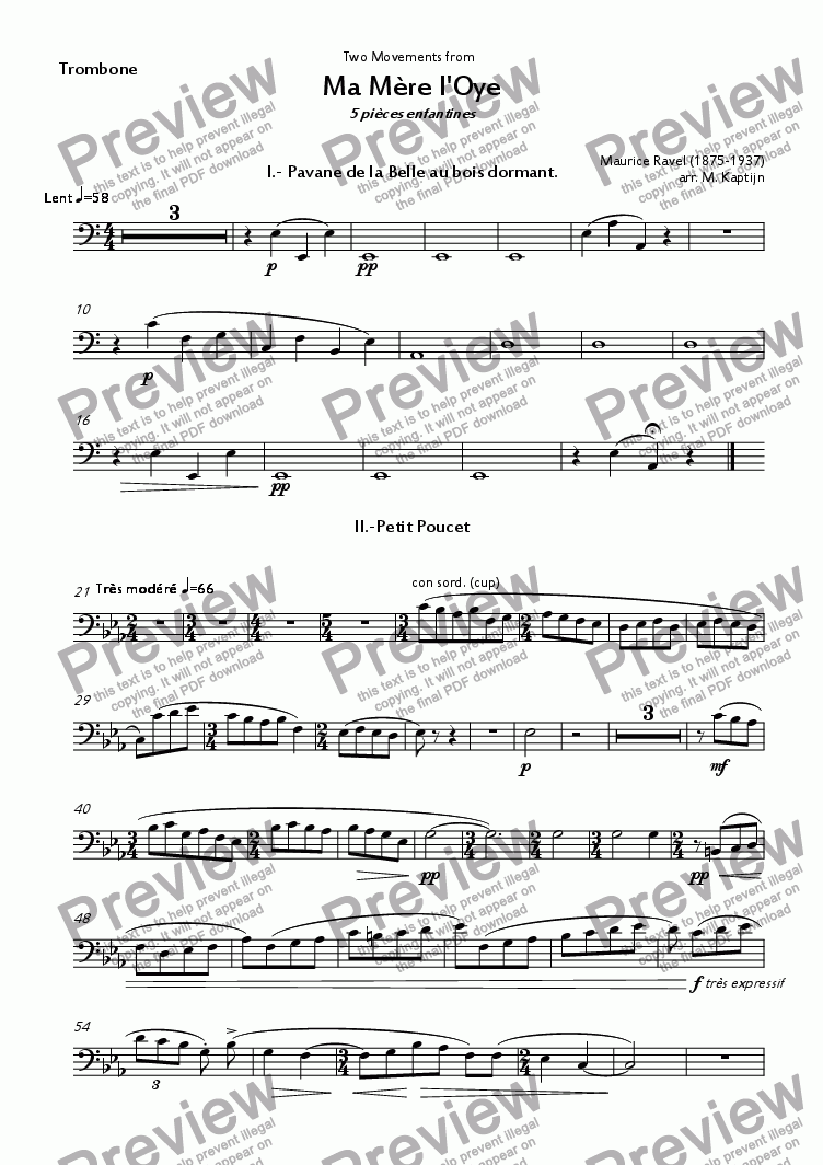 page one of the Trombone part from Two Movements from  Ma Mère l'Oye 5 pièces enfantines