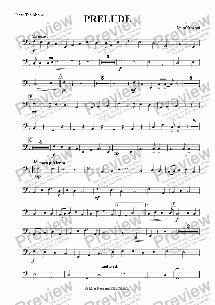 page one of the Bass Trombone part from Prelude