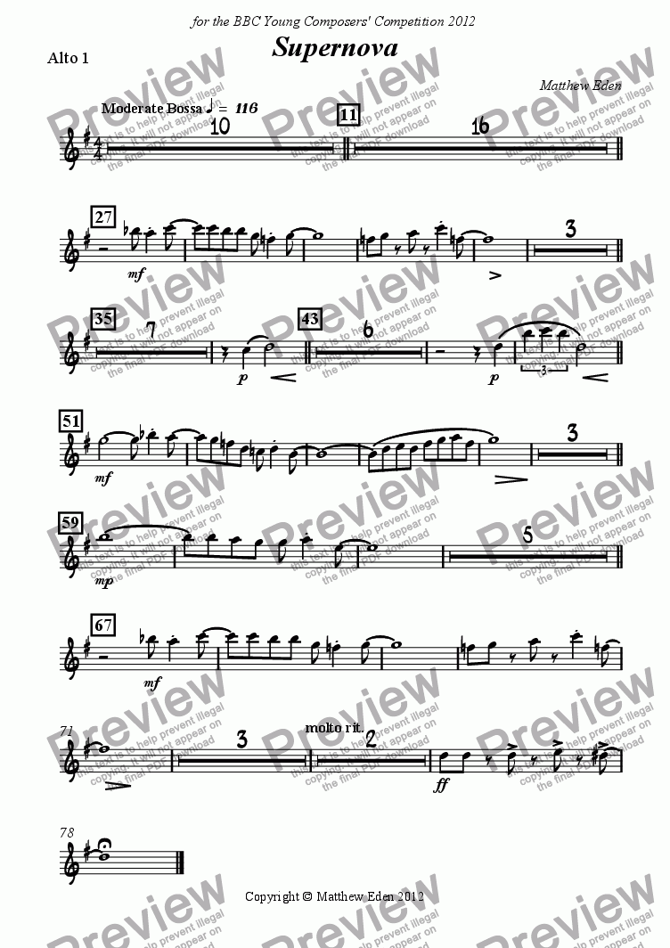 page one of the Alto 1 part from Supernova