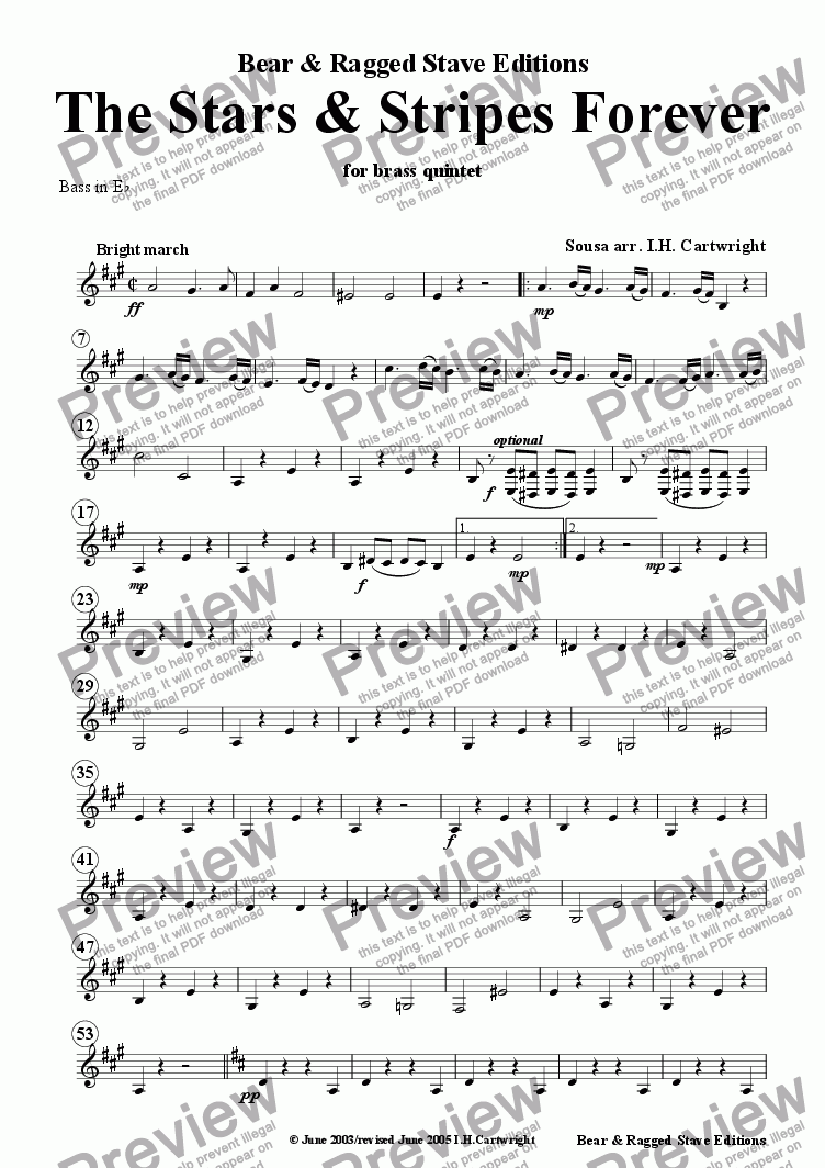 page one of the Bass Eb (treble clef) part from The Stars and Stripes Forever for brass quintet