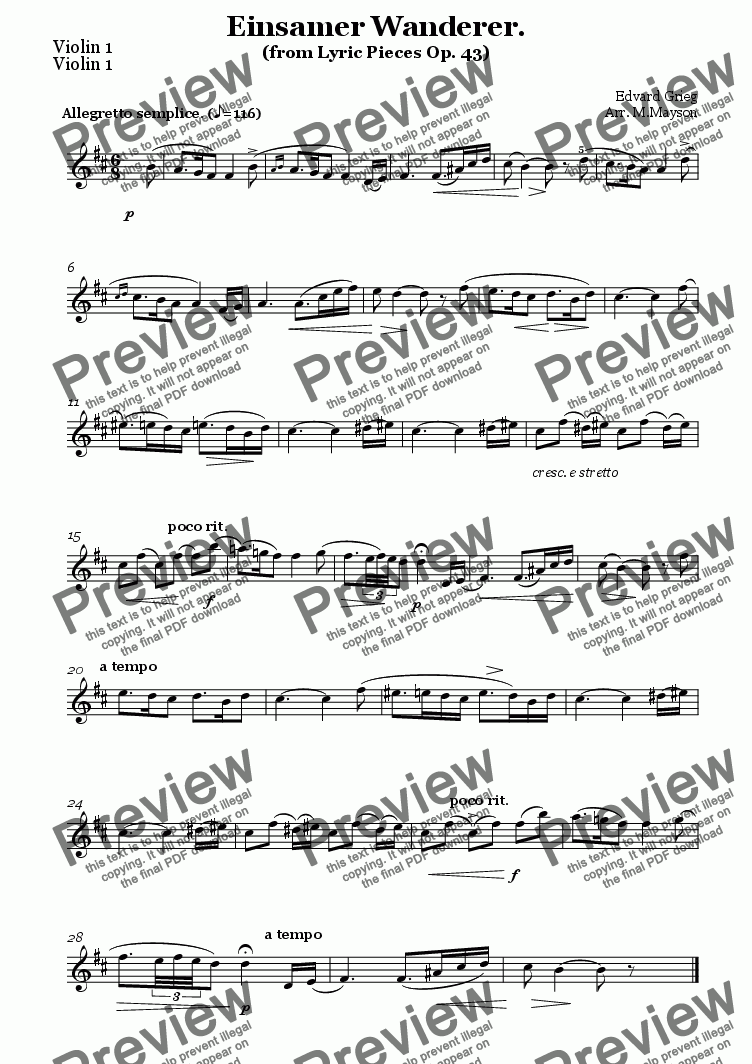 page one of the Violin 1 part from Grieg - Einsamer Wanderer. ( Lyric Pieces Op. 43)