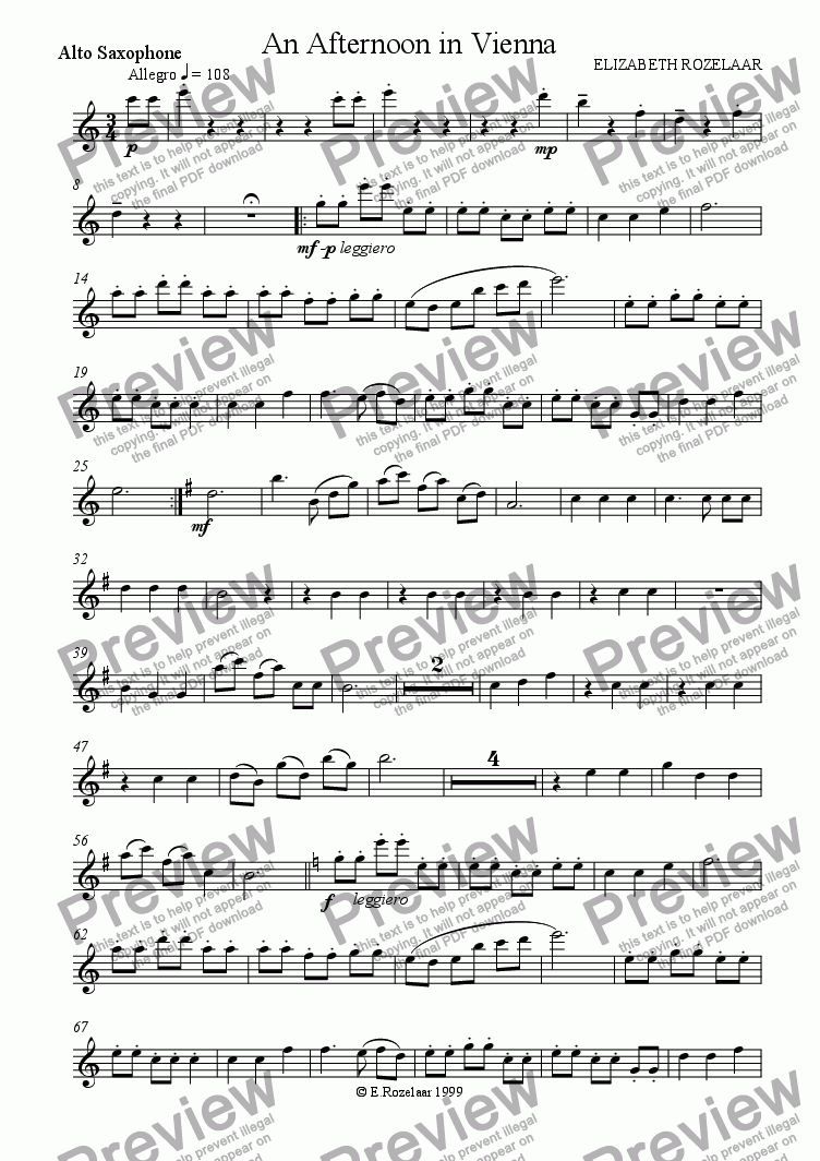 page one of the Alto Saxophone part from An Afternoon in Vienna for Saxophone quartet