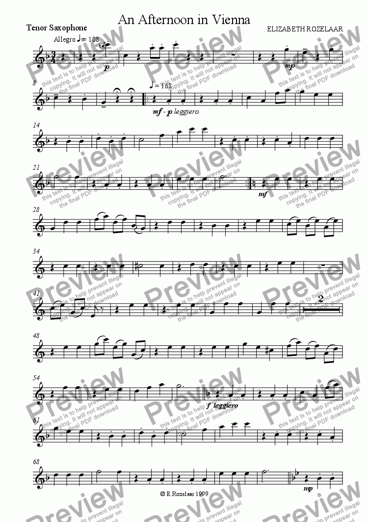 page one of the Tenor Saxophone part from An Afternoon in Vienna for Saxophone quartet