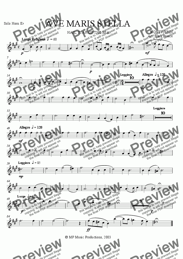 page one of the Solo Horn part from Monteverdi - Ave Maris Stella (Brass Band)