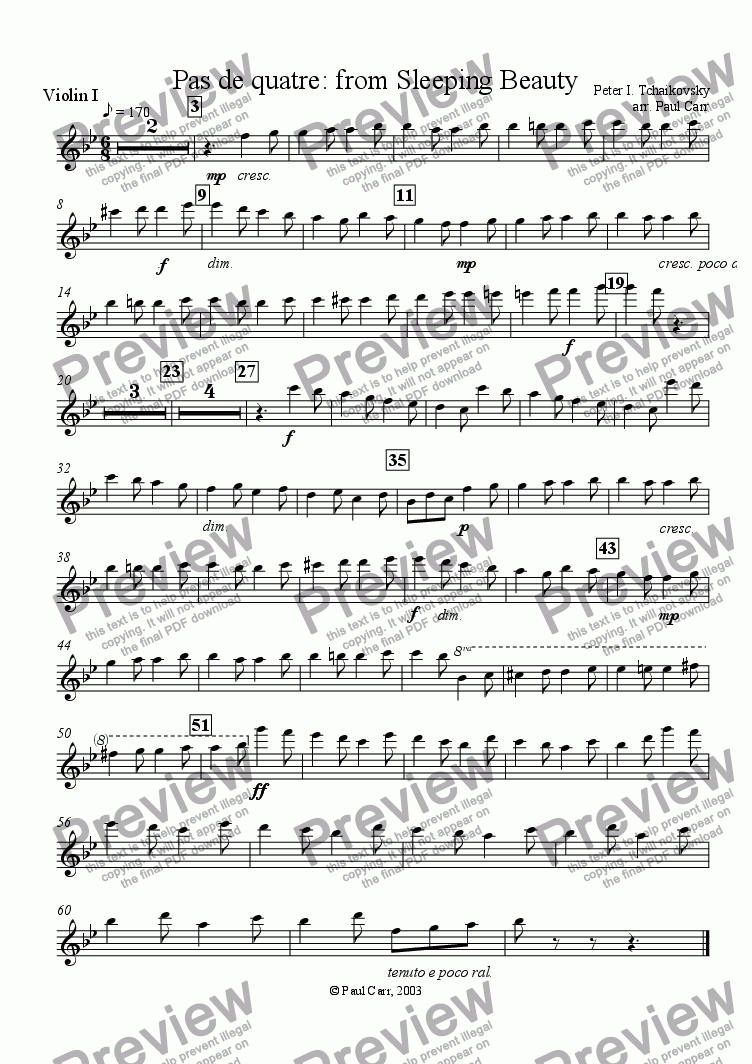 page one of the Violin I part from Sleeping Beauty -- Pas de quatre