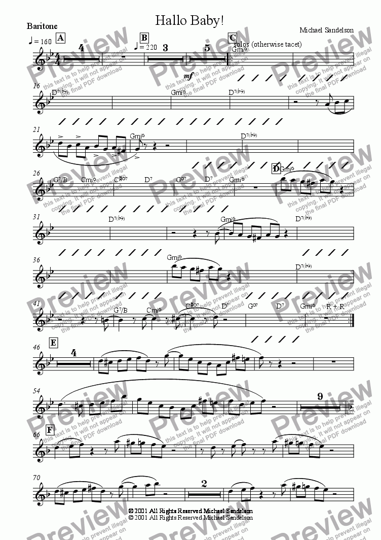 page one of the Baritone part from Hello Baby