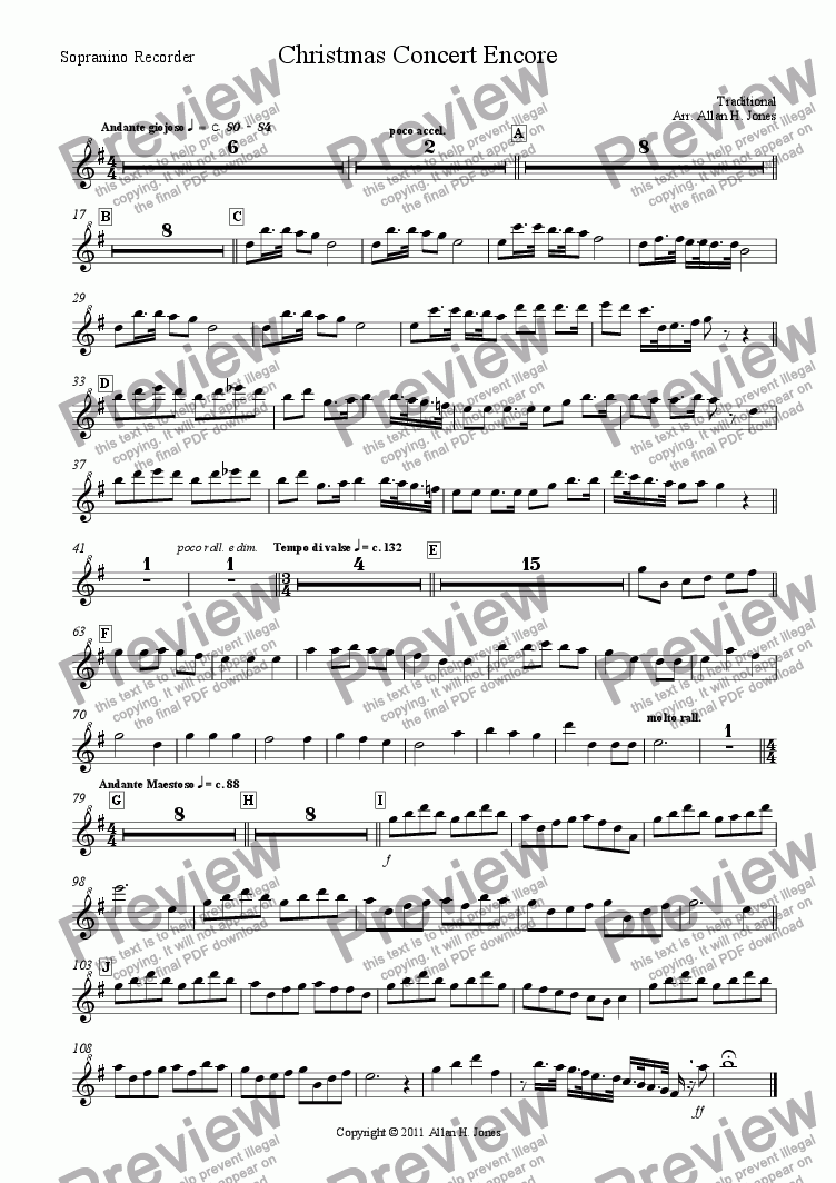 page one of the Sopranino Recorder part from Christmas Concert Encore for Recorder Consort