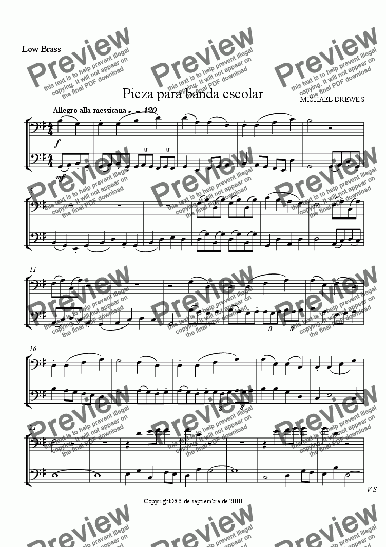 page one of the Low Brass part from Pieza para banda escolar (Piece for School Band)