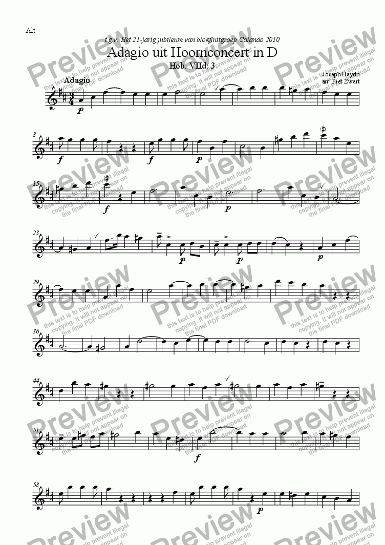 page one of the Alt part from Adagio from Hornconcerto D (Haydn)