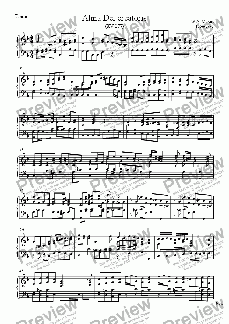 page one of the Piano part from Alma Dei creatoris (Mozart)