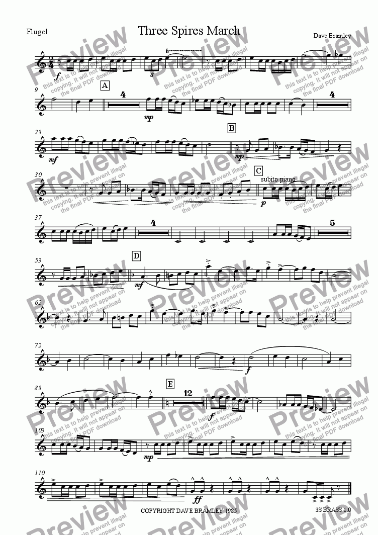 page one of the Flugelhorn part from Three Spires March (Brass Band version)