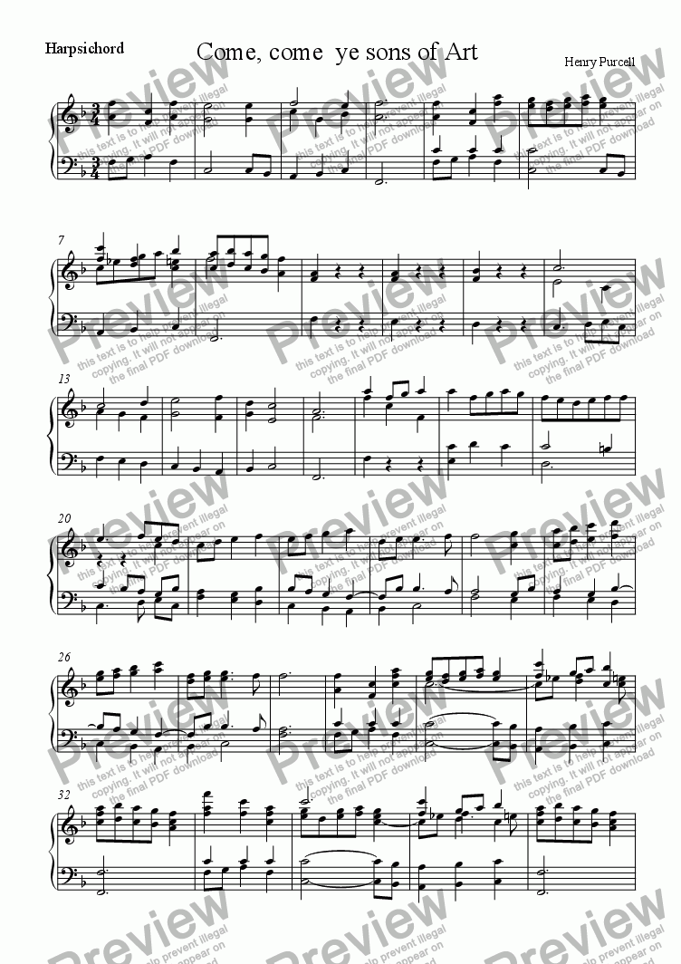 page one of the Harps. part from Come, come  ye sons of Art (Purcell)