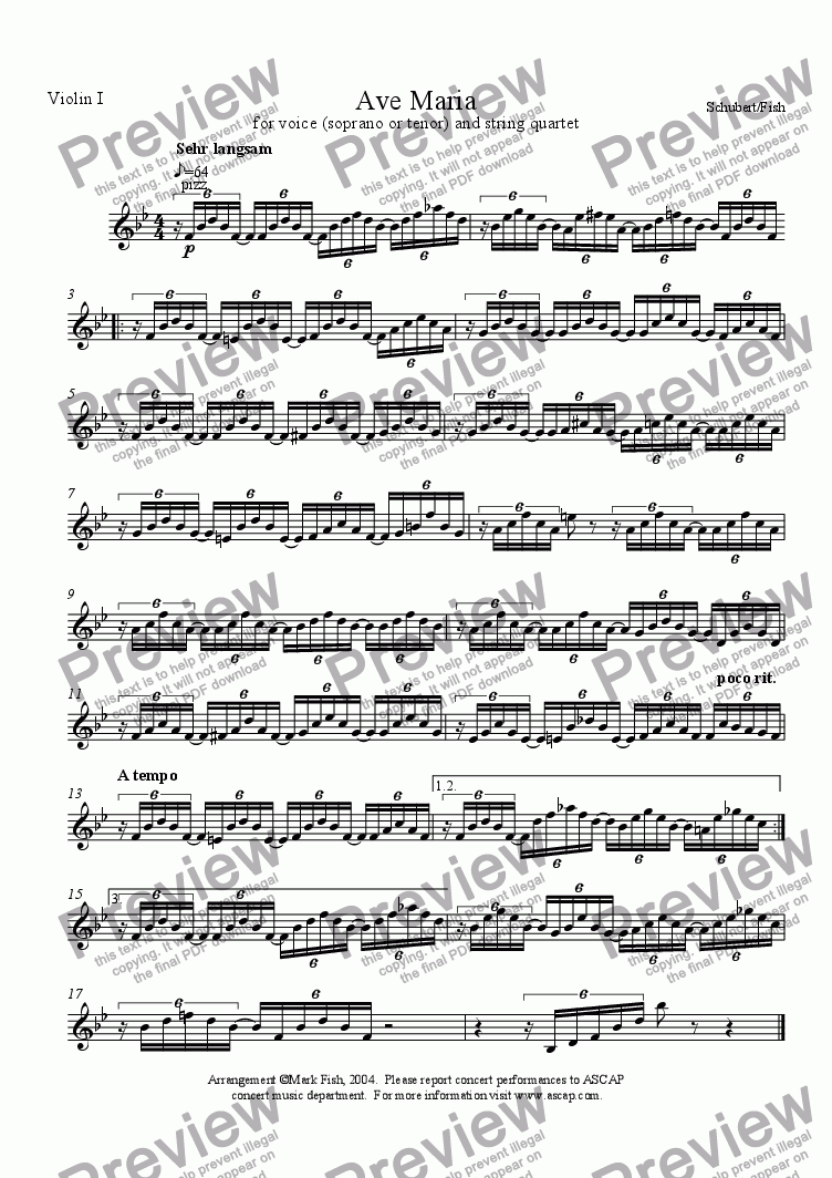 page one of the Violin I part from Ave Maria in B flat for voice and string quartet