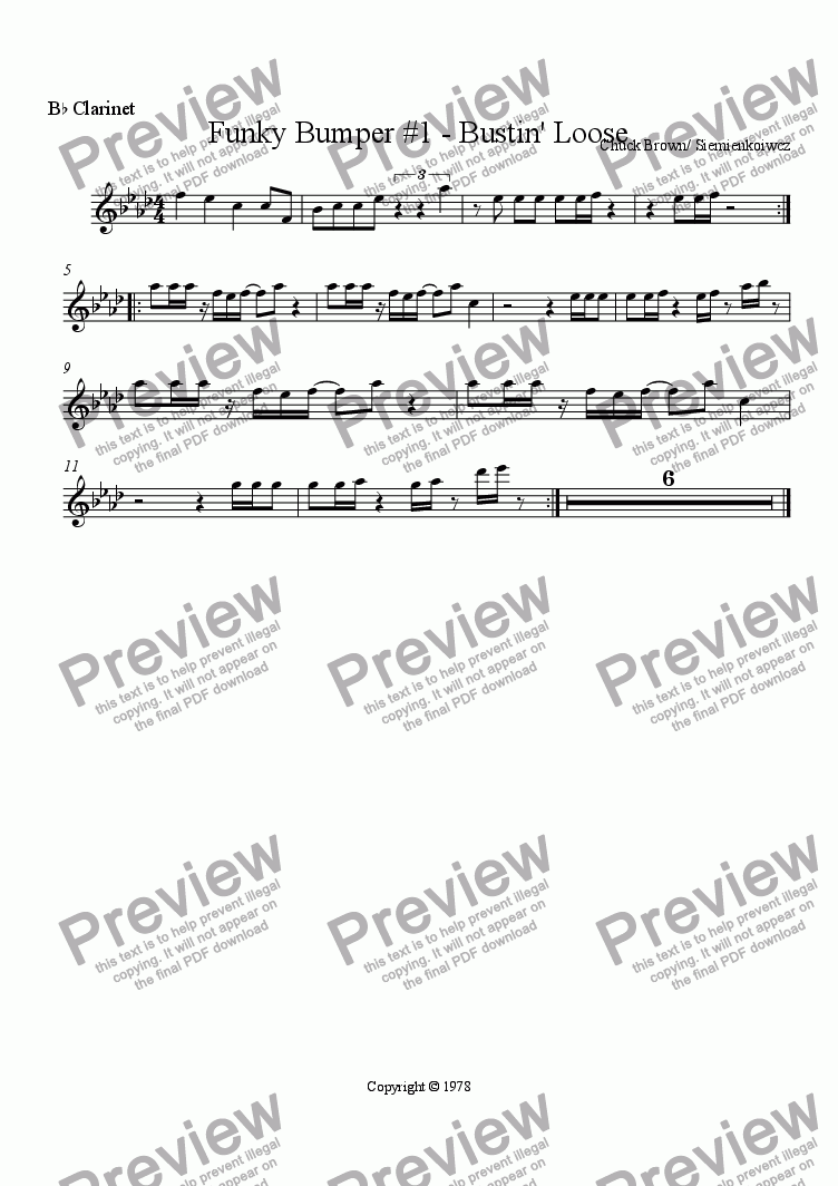 page one of the B^b Clarinet part from Funky Bumper #1 - Bustin' Loose