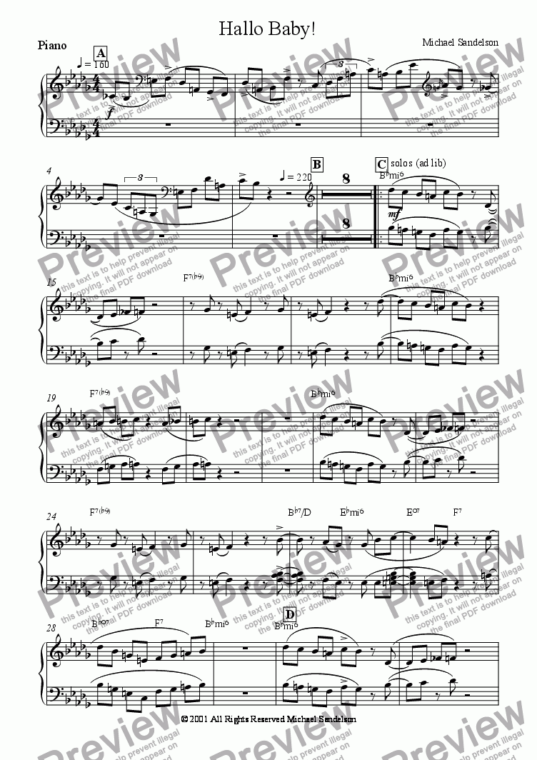 page one of the Piano part from Hello Baby