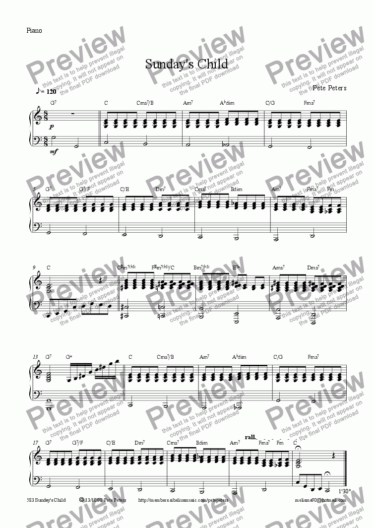 page one of the Piano part from Sunday's Child [7 of 8] Treble rec or Flute + Piano