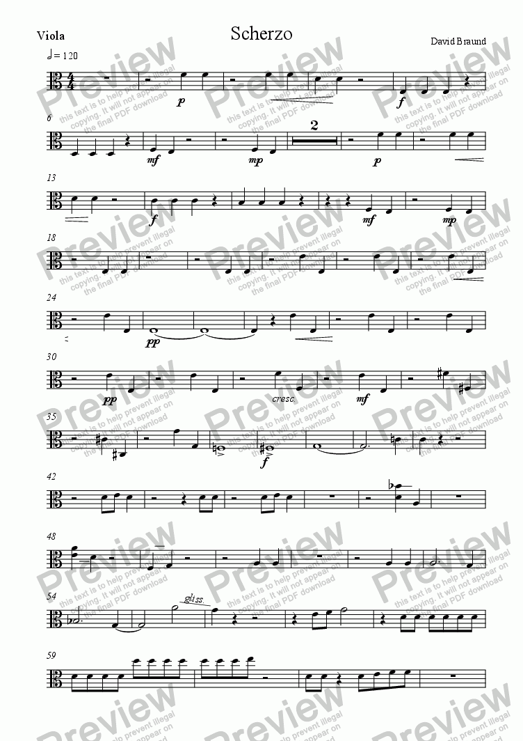 page one of the viola part from Scherzo