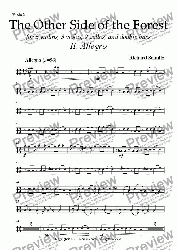 page one of the Viola 2 part from The Other Side of the Forest (II. Allegro)