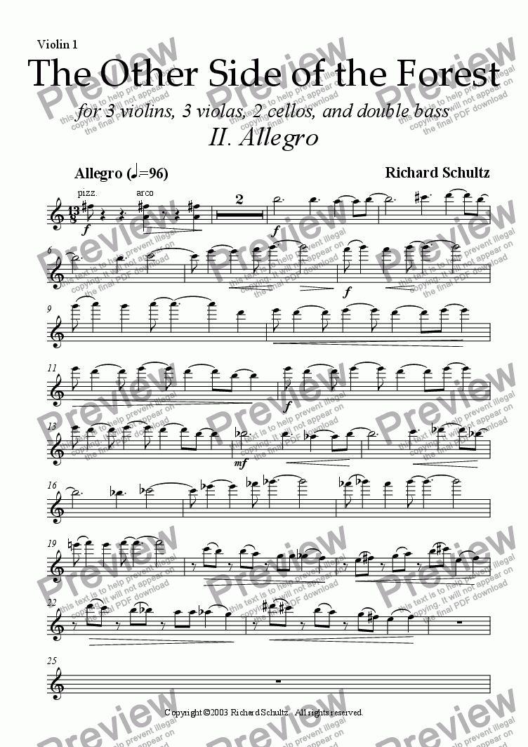 page one of the Violin I part from The Other Side of the Forest (II. Allegro)