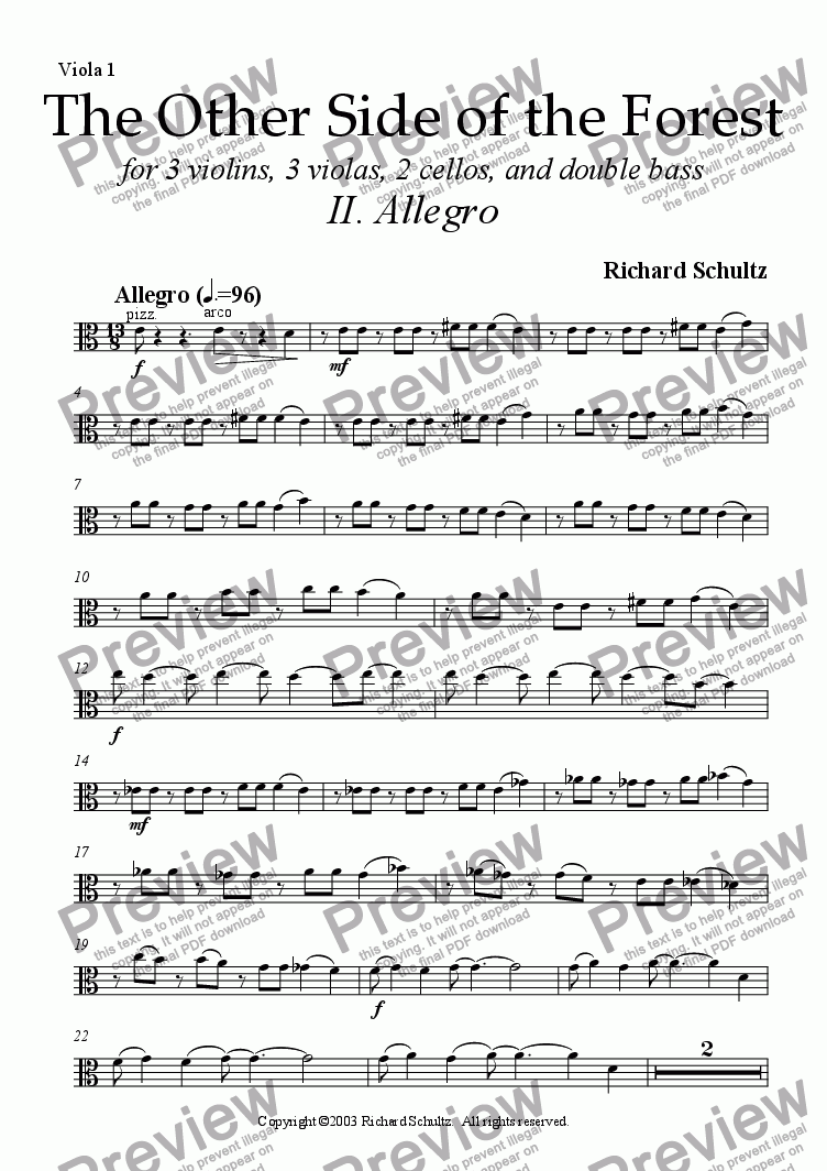 page one of the Viola 1 part from The Other Side of the Forest (II. Allegro)