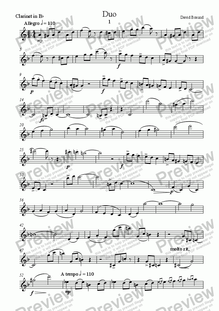 page one of the clarinet in B flat part from Duo
