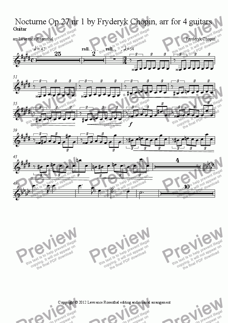 page one of the Guitar part from Nocturne Op 27 nr 1 by Fryderyk Chopin, arr for 4 guitars