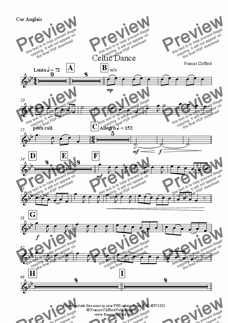 page one of the Cor Anglais part from Celtic Dance (Full Orchestra Version)
