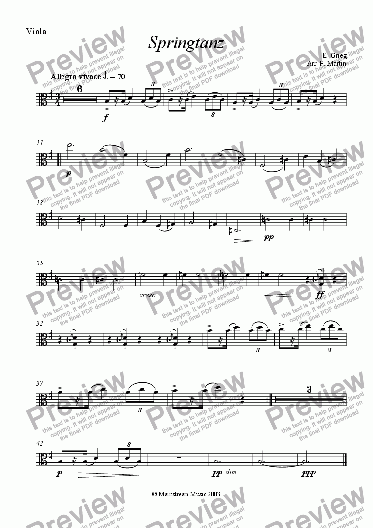 page one of the Viola part from Springtanz