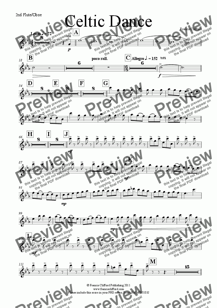 page one of the 2nd Flute/Oboe part from Celtic Dance (Wind Orchestra Version)