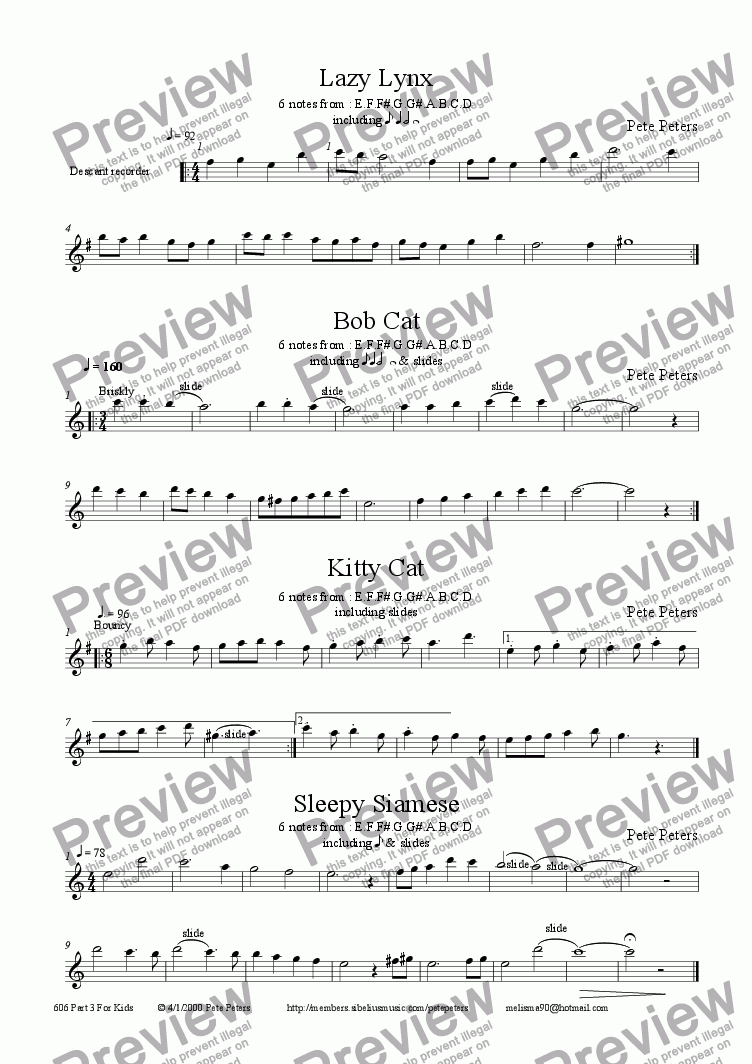 page one of the Recorder or Flute part from For Kids Part 3: 4 pieces [from 12yrs] Descant + Piano