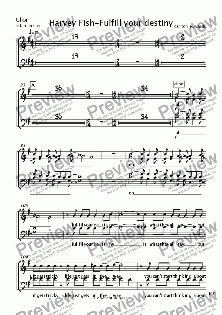 page one of the Choir part from Harvey Fish-Fulfill your destiny