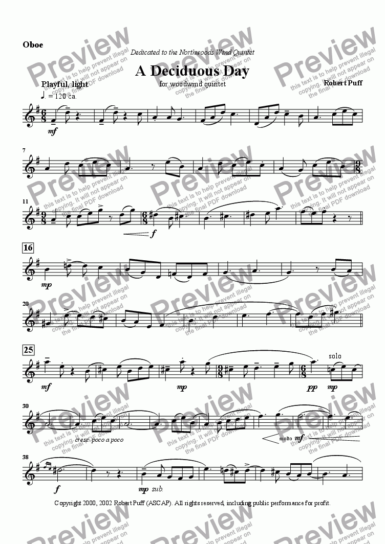 page one of the Oboe part from A Deciduous Day (woodwind quintet)
