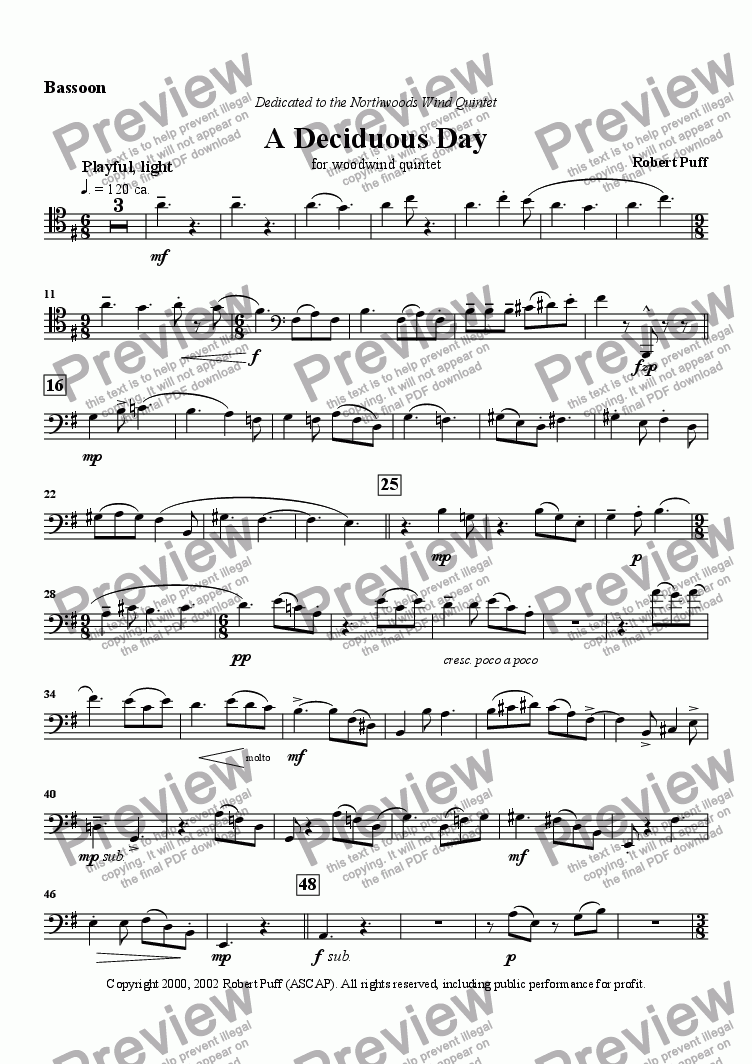 page one of the Bassoon part from A Deciduous Day (woodwind quintet)