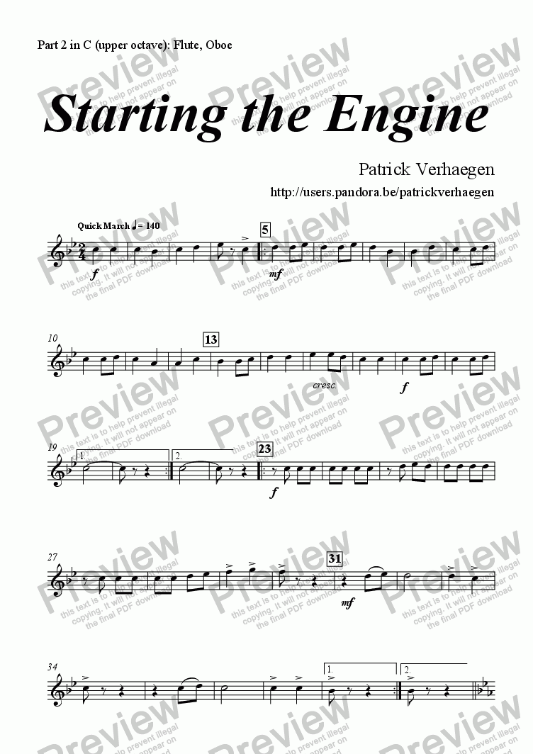 page one of the part 2 in C (upper octave): Flute, Oboe part from Starting the Engine (for youth band)