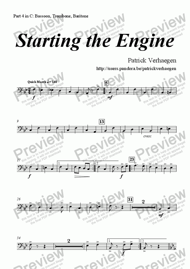page one of the part 4 in C: Bassoon, Baritone, Trombone part from Starting the Engine (for youth band)