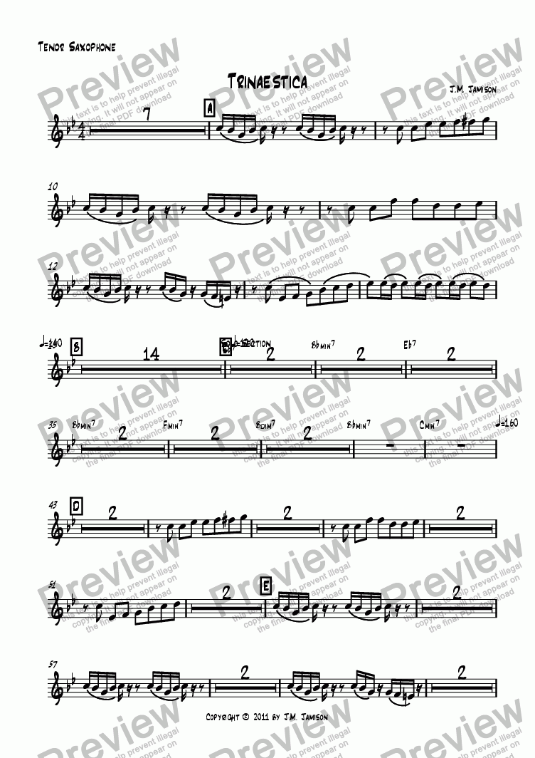 page one of the Tenor Saxophone part from Trinaestica