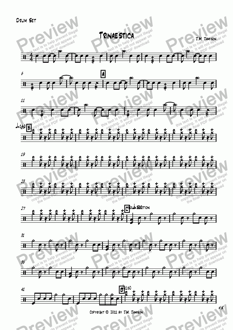 page one of the Drum Set part from Trinaestica