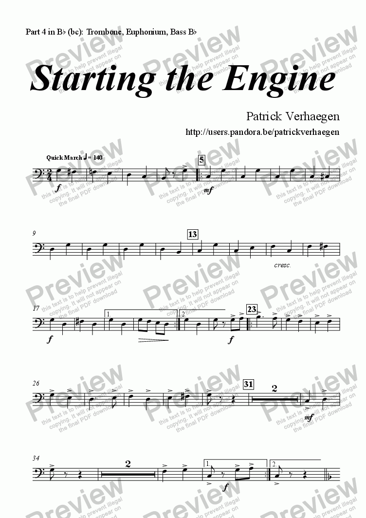 page one of the part 4 in Bb (bc): Trombone, Euphonium, Bass Bb part from Starting the Engine (for youth band)
