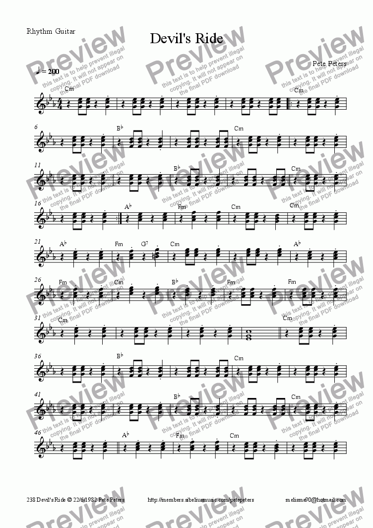 page one of the Rhythm Guitar part from Devil's Ride [3 guitars] Country