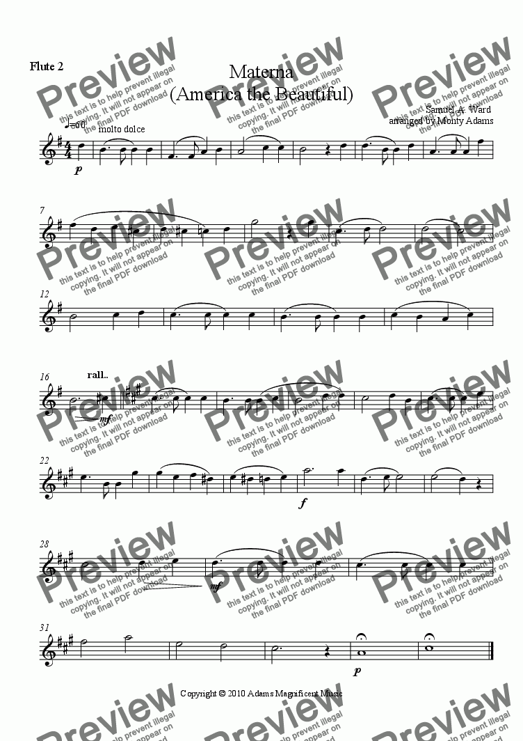 page one of the Flute 2 part from Materna (America the Beautiful) for Flute Choir