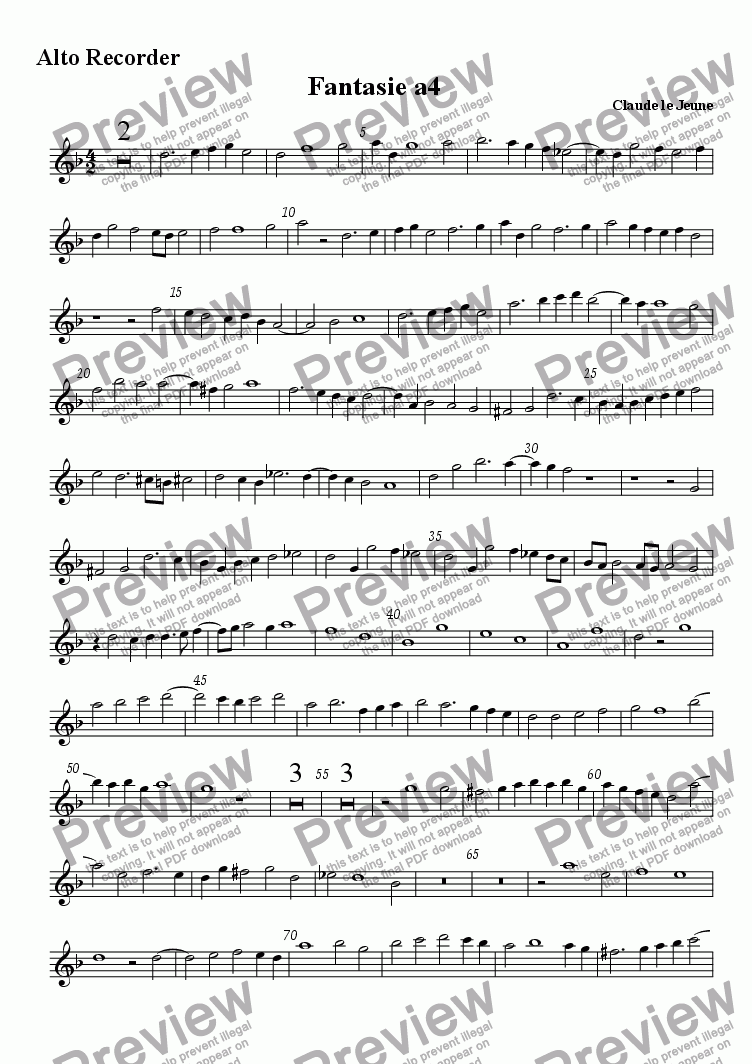 page one of the Alto (treble) recorder part from Fantasie a4