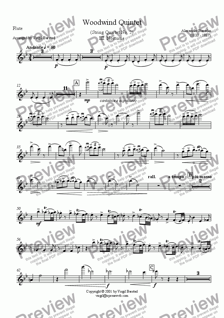 page one of the Flute part from Borodin Wind Quintet - 3