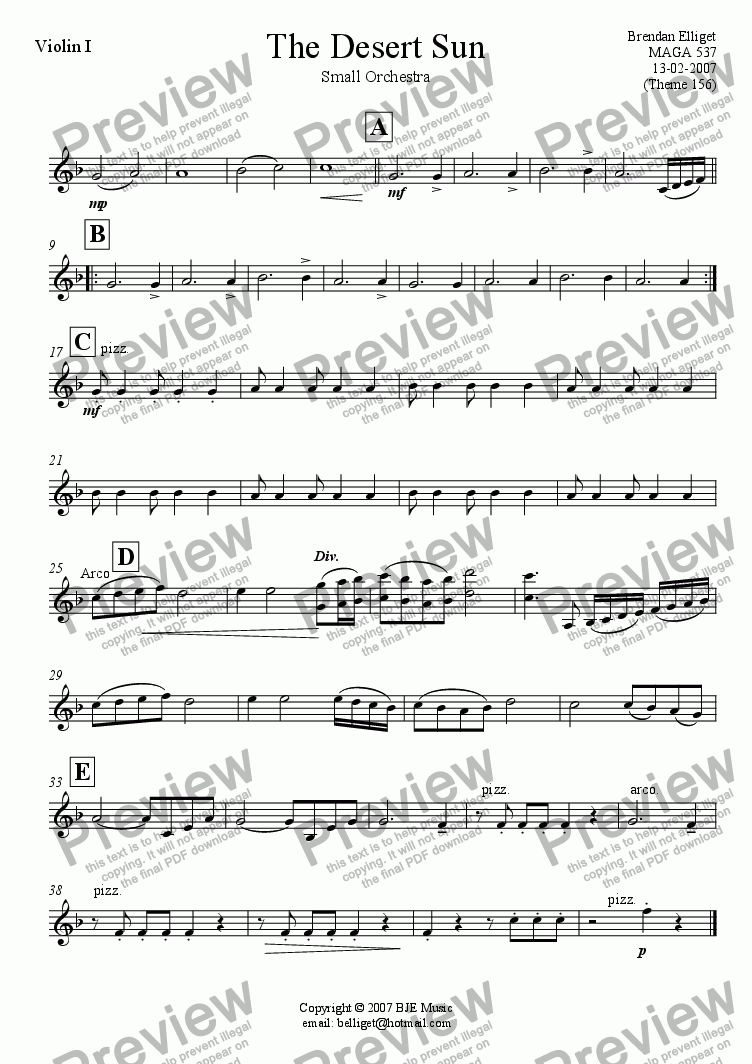 page one of the Violin I part from The Desert Sun - Small Orchestra
