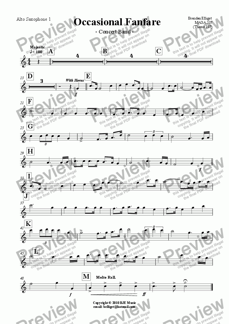 page one of the Alto Saxophone 1 part from Occasional Fanfare - Concert Band