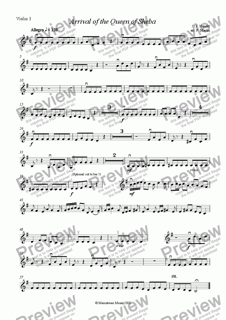 page one of the Violin 3 part from Arrival of the Queen of Sheba - Violin Quartet