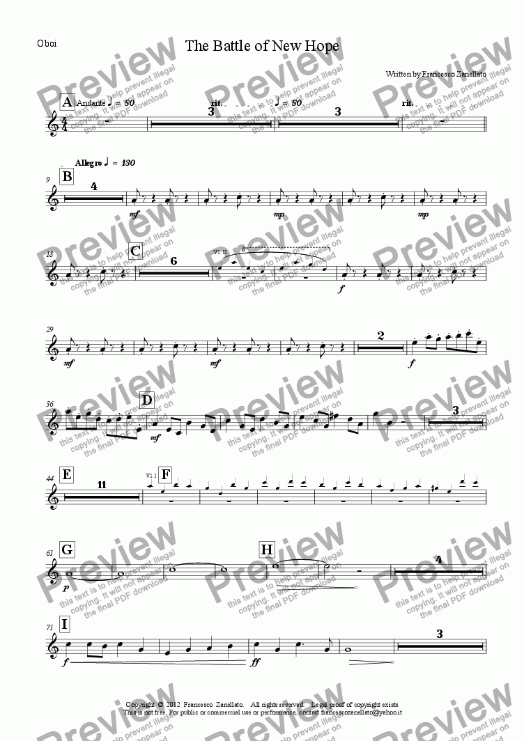 page one of the Oboe part from The Battle of New Hope