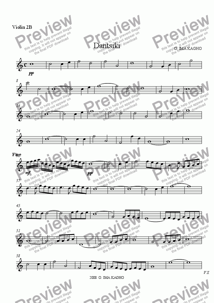 page one of the Violin 2B part from Dantsiki